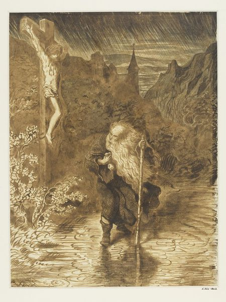 The Wandering Jew,  Gustave Doré (1856). A drawing for The Legend of the Wandering Jew.